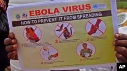 Wata na rike da takardar bayanan abubuwan da za a yi a hana cutae Ebola yaduwa tsakanin al'umma.
