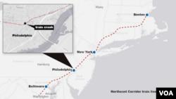 Location of Amtrak commuter train crash, May 12, 2015