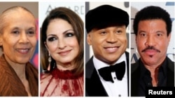 Foto artis yang akan menerima penghargaan Kennedy Center Honorees 2017 (Kiri - kanan): Aktris, penari dan penata tari Carmen de Lavallade, penyanyi-penulis lagu dan aktris Gloria Estefan, artis hip-hop LL COOL J, musisi dan produser rekaman Lionel Richie.