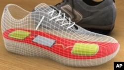 Crtež uređaja za sakupljanje energije hodanja, ugrađenog u tenisicu