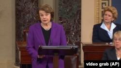 La presidente de la Comisión de Inteligencia del Senado, Dianne Feinstein, hizo la presentación del informe ante el pleno.