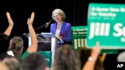 FILE - Green Party presidential candidate Jill Stein delivers her acceptance speech at the Green Party's convention in Baltimore, Maryland, July 14, 2012.