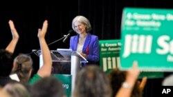 រូបឯកសារ៖ បេក្ខជនប្រធានាធិបតីនៃគណបក្សបៃតង លោកស្រី Jill Stein ថ្លែងសុន្ទរកថានៅគណបក្សបៃតងនៅរដ្ឋ Maryland កាលពីឆ្នាំ២០១២។