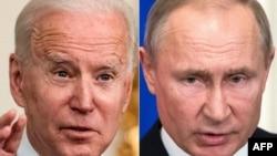 Rais Joe Biden (kushoto) na Rais Vladimir Putin