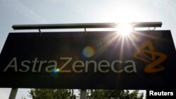 FILE - A sign is seen at an AstraZeneca site in Macclesfield, central England.