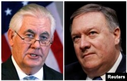 FILE: A combination photo shows U.S. Secretary of State Rex Tillerson (L) in Addis Ababa, Ethiopia, March 8, 2018, and Central Intelligence Agency (CIA) Director Mike Pompeo on Capitol Hill in Washington, DC, U.S., February 13, 2018.