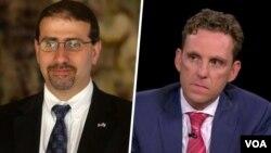«مارک دوبوویتس» (راست) مدیر ارشد بنیاد دفاع از دمکراسیها از مخالفان توافق ایران و «دانیل شاپیرو» سفیر سابق آمریکا در اسرائیل از موافقان آن، این نامه مشترک را نوشته اند.