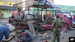 케냐 수도 나이로비의 폭탄 테러 현장