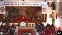 The First Tibetan National General Meeting at Dickyi Larso settlement's community hall in Bylakuppe, India