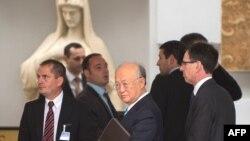 Tổng Giám đốc Cơ quan Nguyên tử năng Quốc tế Yukiya Amano đến khách sạn Palais Coburg, nơi tổ chức các cuộc đàm phán hạt nhân, tại Vienna, Áo, 27/6/2015.