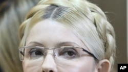 Former Ukrainian Prime Minister Yulia Tymoshenko seen during her trial, at the Pecherskiy District Court in Kiev, Ukraine, Tuesday, Oct. 11, 2011.