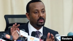 FILE - Ethiopian Prime Minister Abiy Ahmed speaks to reporters in his office in Addis Ababa, Ethiopia August 25, 2018.