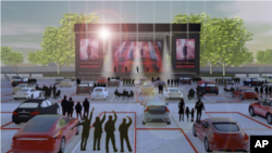 "This artist rendering released by Live Nation shows the set up for Live Nation's ""Live from the Drive-In,"" concert series taking place July 10-12. (Live Nation via AP)"