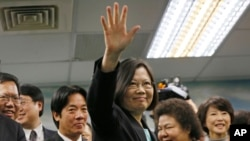 FILE - Taiwan's independence-leaning Democratic Progressive Party candidate Tsai Ing-wen