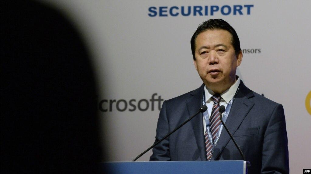 2017年7月4日国际刑警组织主席孟宏伟在新加坡国际刑警组织世界大会开幕式上讲话。