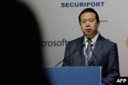 2017年7月4日國際刑警組織主席孟宏偉在新加坡國際刑警組織世界大會開幕式上講話。