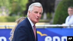 The EU chief Brexit negotiator Michel Barnier arrives for an EPP meeting in Brussels, June 22, 2017