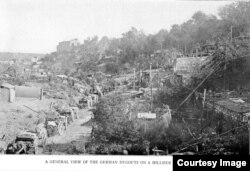 A general view of the German dugouts on a hillside at Varennes.