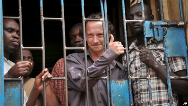 "David Cecil, the British producer of the play ""The River and the Mountain"" concerning the condition of Uganda's gays, in a court cell in Kampala on September 13, 2012."