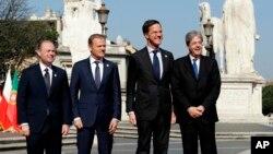 Los líderes de la UE se reunieron en Roma para celebrar el 60 aniversario de su tratado de fundación y trazar un camino a seguir, después de la decisión de Gran Bretaña de abandonar el bloque de 28 naciones.