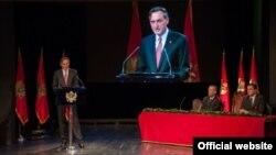 Predsjednik parlamenta Ranko Krivokapić govori na svečanoj sjednici na Cetinju