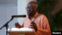 Former FIFA Vice President Jack Warner speaks during a ceremony in celebration of Indian Arrival Day organized, in Chaguanas, Trinidad, May 29, 2015.