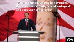 Senateri Ted Cruz, ariko ashikriza ijambo mw'ikoraniro kaminuza ry'aba Republica ko atazoshigikira Donald Trump