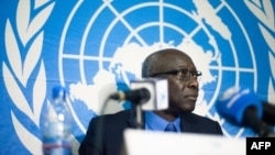 FILE - Adama Dieng, the U.N. Secretary-General's Special Adviser for the Prevention of Genocide, speaks at a press conference in Bangui, Central African Republic, Oct. 11, 2017. Dieng stresses the need to educate South Sudanese citizens on the mandate of the 12,000-member UNMISS force deployed in their country.