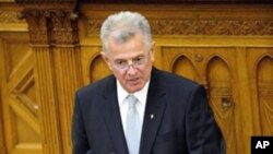 Hungary's newly elected president Pal Schmitt speaks in parliament after deputies elected him as the next head of state, in Budapest, 29 Jun 2010