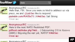A screen capture from the AnonymousIRC Twitter account, July 21, 2011