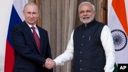 Президент Владимир Путин с премьер-министром Индии Нарендрой Моди. Нью-Дели, Индия. 11 декабря 2014 г.