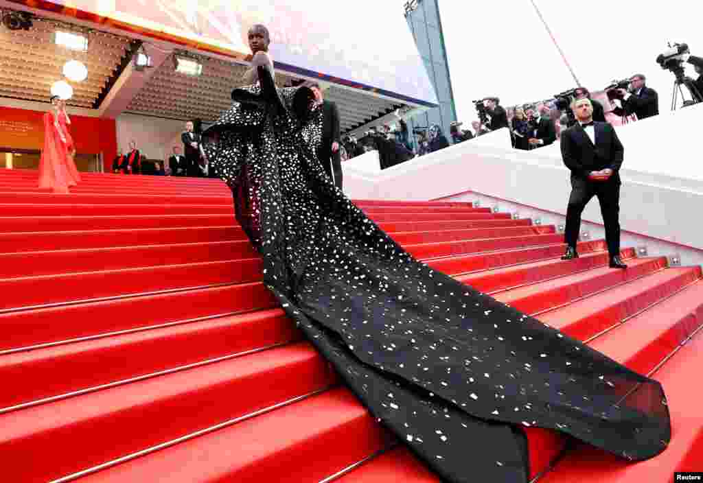 "British model and designer Leomie Anderson arrives for the screening of the film ""Once Upon a Time in Hollywood"" during the 72nd Cannes Film Festival in Cannes, France."
