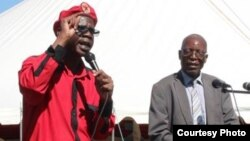 ZCTU secretary general (left) addressing workers on Workers Day recently. (File Photo: ZCTU website)