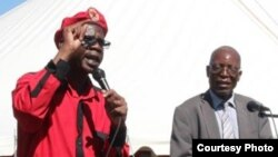 FILE: ZCTU president George Nkiwane addressing workers in Harare.