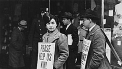 Strikers in New York City around 1937. Laws proposed by the Roosevelt administration helped strengthen the labor movement.