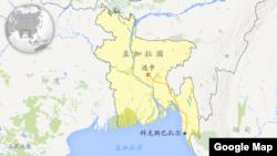 孟加拉国首都达卡以及科克斯巴扎尔地理位置