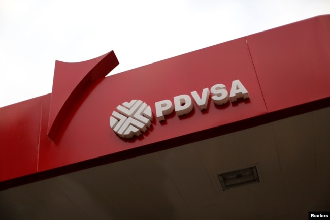 The corporate logo of the state oil company PDVSA is seen at a gas station in Caracas, Venezuela, March 22, 2017.