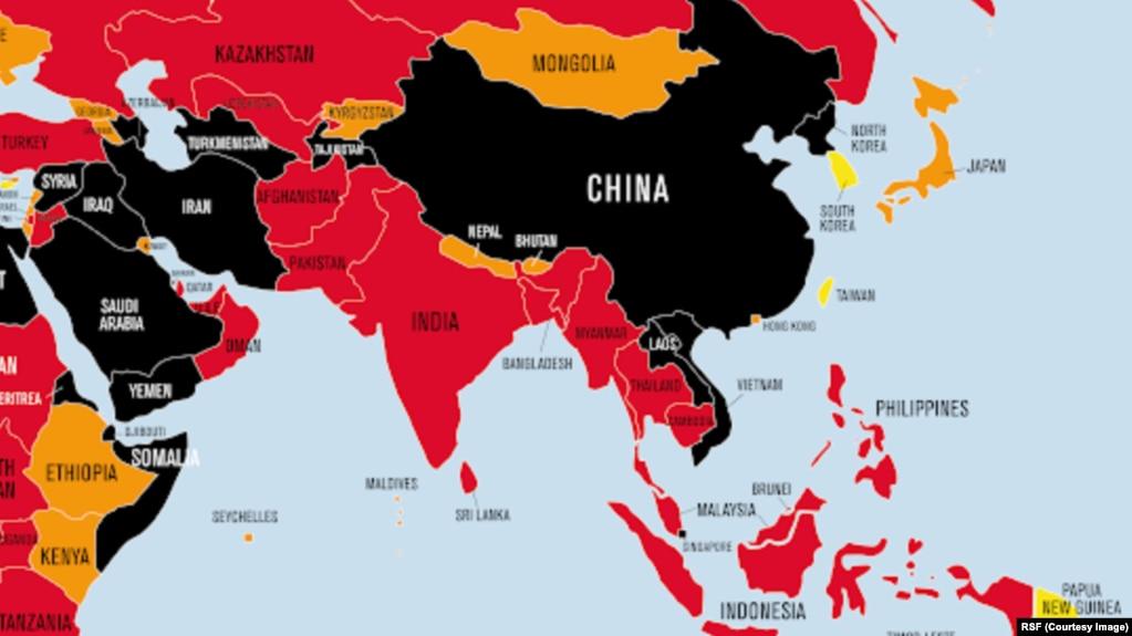 """Bản đồ Chỉ số Tự do Báo chí Thế giới 2021 của Tổ chức Phóng viên Không Biên giới (RSF) cho thấy Việt Nam trong nhóm các nước màu đen vì có môi trường """"rất tồi tệ"""" đối với tự do báo chí."""