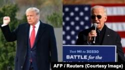 အၿပိဳင္အဆုိင္ မဲဆြယ္ေနတဲ့ သမၼတ Donald Trump နဲ႔ ဒီမိုကရက္တစ္ပါတီ သမၼတေလာင္း Joe Biden.