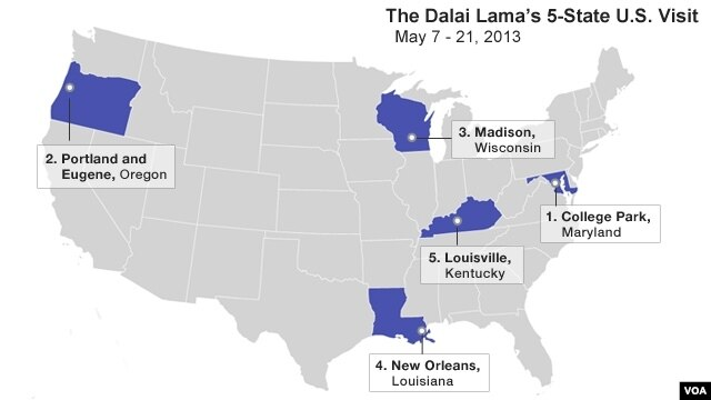 Map showing the Dalai Lama's stops in the United States in May, 2013.