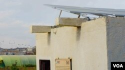 USAID model greenhouse near Sana'a, Yemen uses solar power and the latest irrigation technology to help improve crop yields. Photo: VOA/ C. Coombs