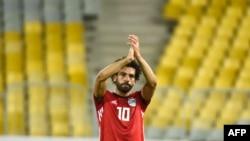 Le footballeur égyptien Mohamed Salah remporte le match de qualification à la Coupe d'Afrique de 2019 entre l'Egypte et le Niger, le 8 septembre 2018.