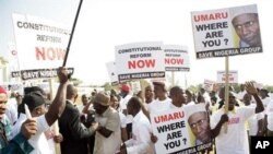 People rally to protest over a power vacuum created by the absence of President Umaru Yar'Adua, Abuja, 12 Jan 2009