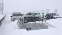 در شهر شیکاگو صدها خودرو در جاده ای در برف گیر افتاده اند. ۲ فوریه ۲۰۱۱