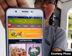 Prototipe aplikasi jual-beli produk daur ulang sampah yang dikembangkan mahasiswa UGM. (Foto courtesy: Humas UGM)