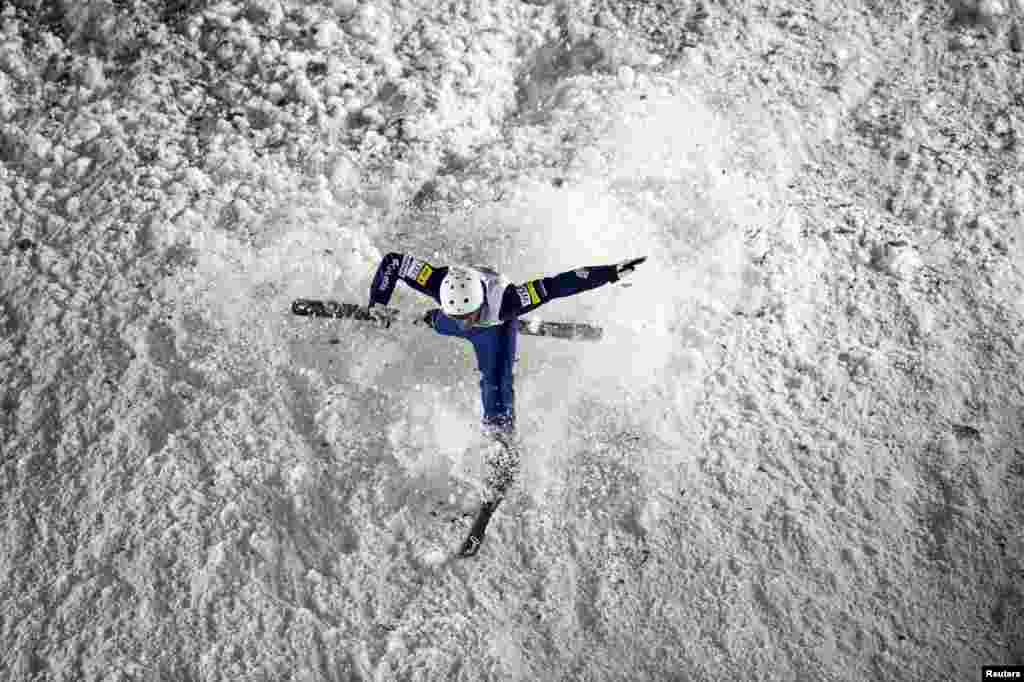 Mac Bohonnon of the U.S. competes in the FIS Freestyle Ski World Cup team aerials in Beijing, China.