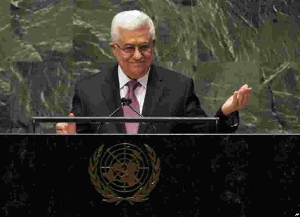 Presiden Palestina Mahmoud Abbas berpidato di depan Majelis Umum PBB (29/11). (AP/Richard Drew)
