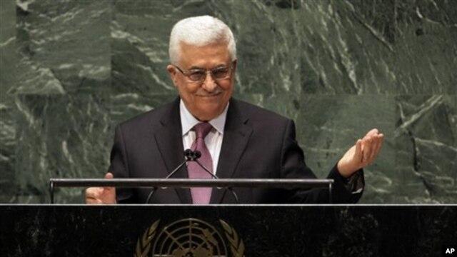 Presiden Palestina Mahmoud Abbas berpidato di Majelis Umum PBB sebelum pemungutan suara (29/11). (AP/Richard Drew)