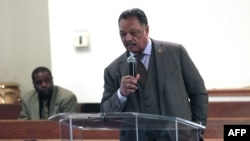 Longtime civil rights leader Rev. Jesse Jackson speaks during a meeting about the water crisis in Flint, Michigan, at the local Heavenly Host Baptist Church Jan. 17, 2016.