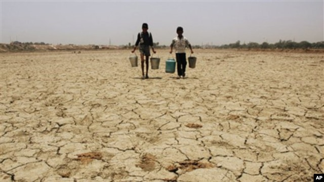 Children look for water on the bed of a dried up lake in Lucknow, India (file photo)